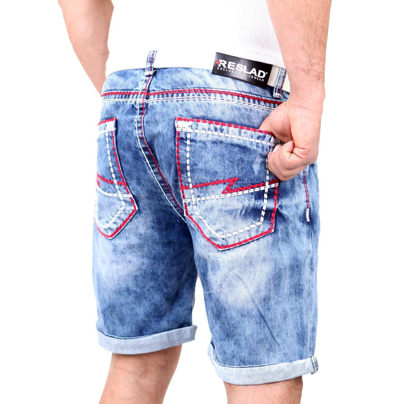 reslad jeans shorts herren dicke kontrast doppel naht. Black Bedroom Furniture Sets. Home Design Ideas