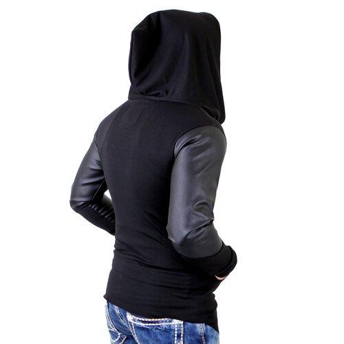 VSCT Sweatjacke Herren Hooded Asymetric Jacket mit Kunst Leder Ärmeln V 5641443