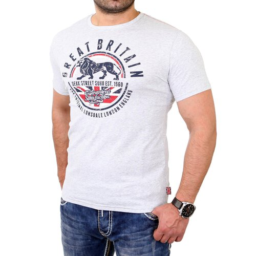 Lonsdale T-Shirt Herren SHOREHAM Stretch Fit Shirt LD-114739 Grau