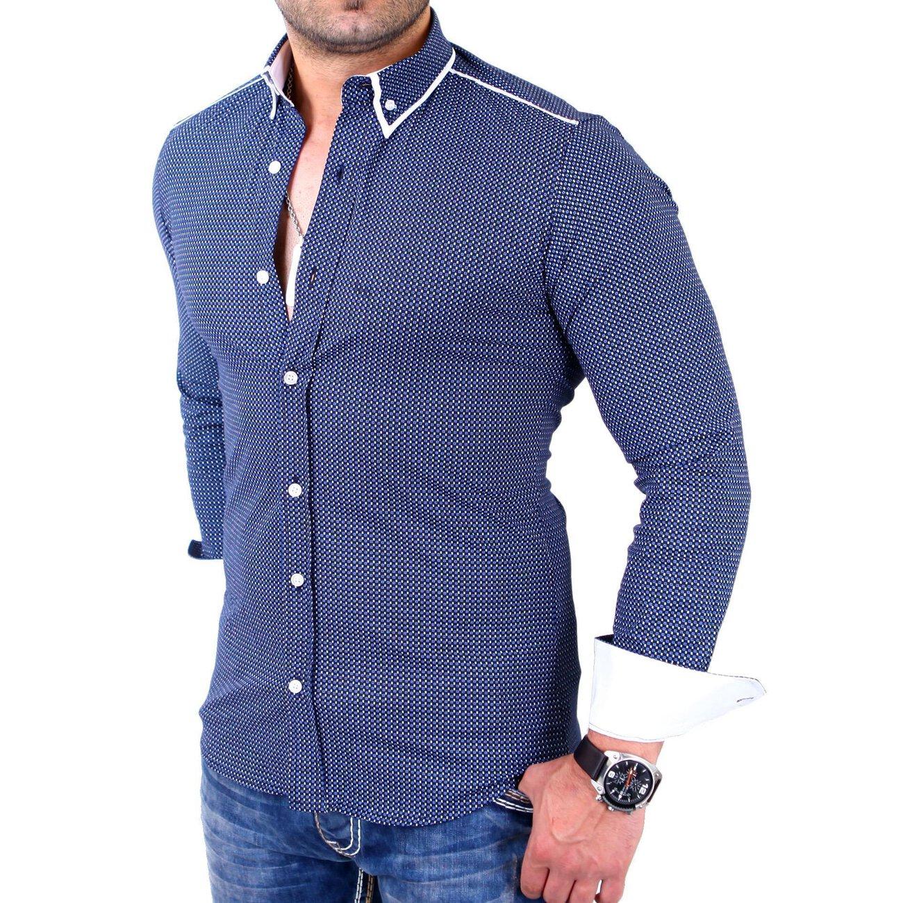 reslad herren hemd glencheck button down kragen langarmhemd rs 7208 n. Black Bedroom Furniture Sets. Home Design Ideas
