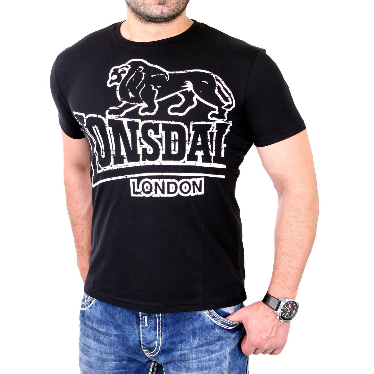 lonsdale t shirt herren langsett regular fit shirt ld 111262 schwarz. Black Bedroom Furniture Sets. Home Design Ideas