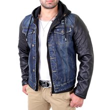 Reslad Lederjacke Herren 2in1 Look Denim Kunst-...