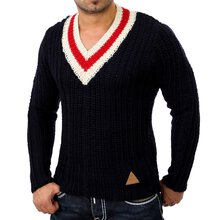 Vsct V-5800285 Grobstrick V-Neck Winter Pullover Navy