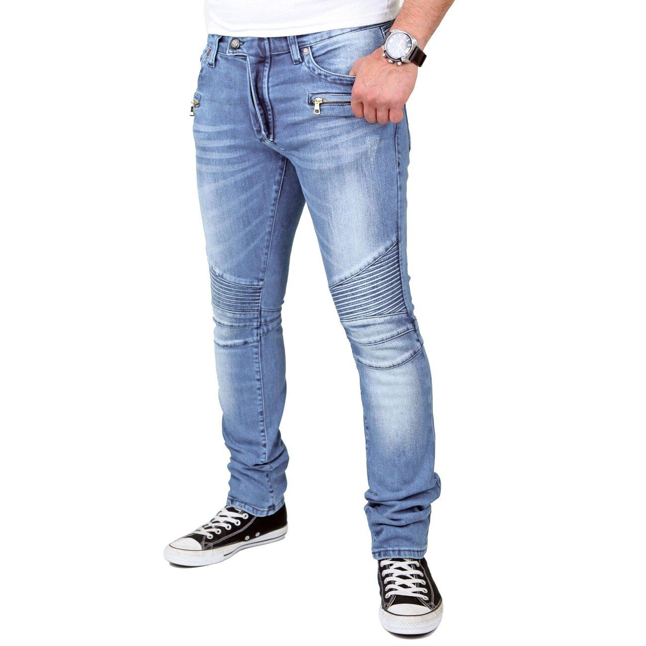 reslad jeans herren skinny used look jeanshose rs 1166 hellblau w31. Black Bedroom Furniture Sets. Home Design Ideas