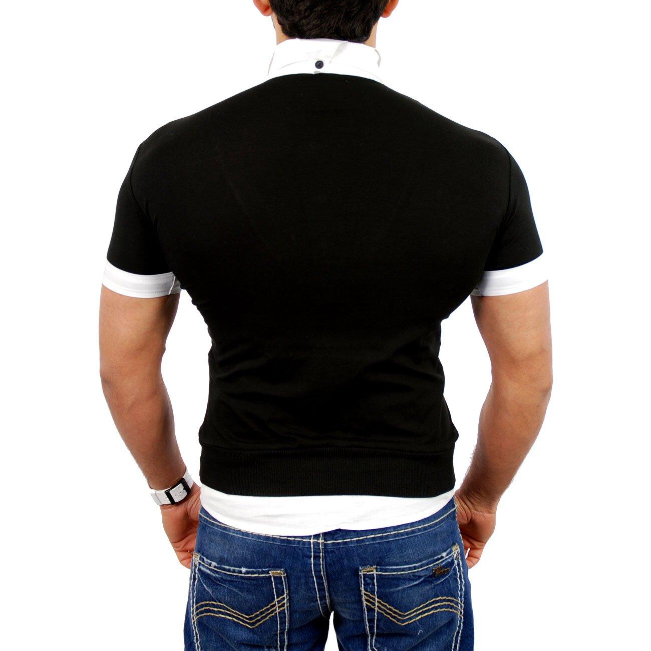 tazzio t shirt herren 2in1 layer style kurzarm shirt tz 903. Black Bedroom Furniture Sets. Home Design Ideas