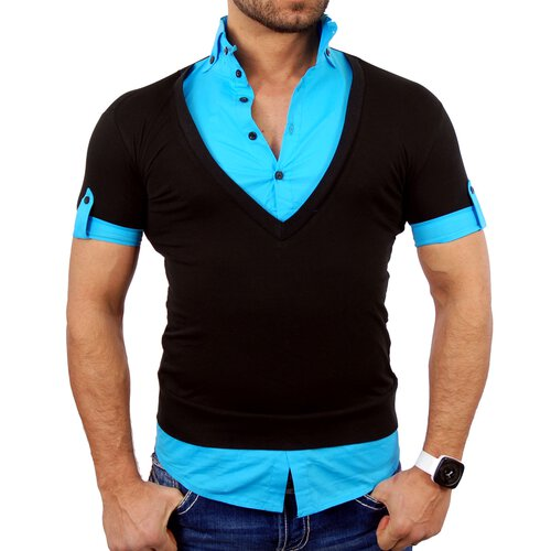 Tazzio T-Shirt Herren 2in1 Layer Style Kurzarm Shirt TZ-903