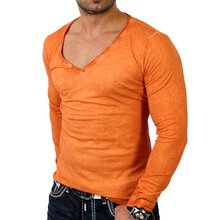 Wasabi WSB-1347 Longslleve Longshirt V-Neck Shirt Orange