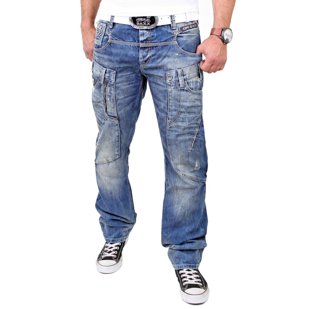 cipo baxx jeans exklusiv look regular fit c 1145 blau. Black Bedroom Furniture Sets. Home Design Ideas