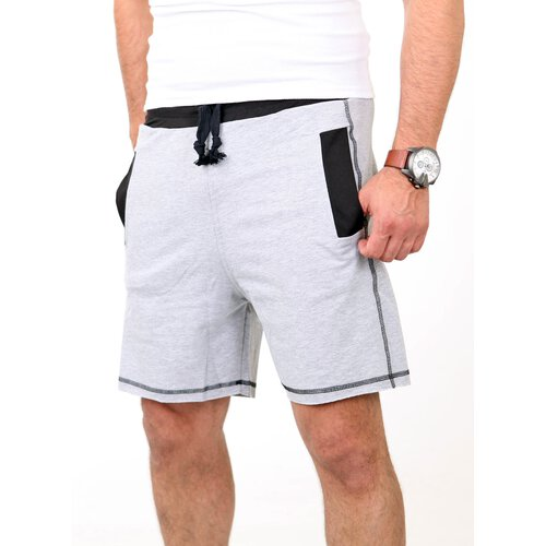 Carisma Shorts Herren Two Tone Look Jogging Capri CRSM-2005 Grau