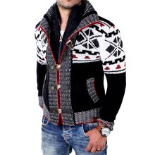 Tazzio Herren Strickjacke Winter Grobstrick Norweger...