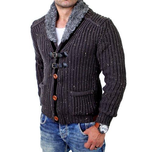 vorbestellen die beste Einstellung kostenloser Versand Tazzio Herren Strickjacke Winter Grobstrick Wollkragen Pullover TZ-418