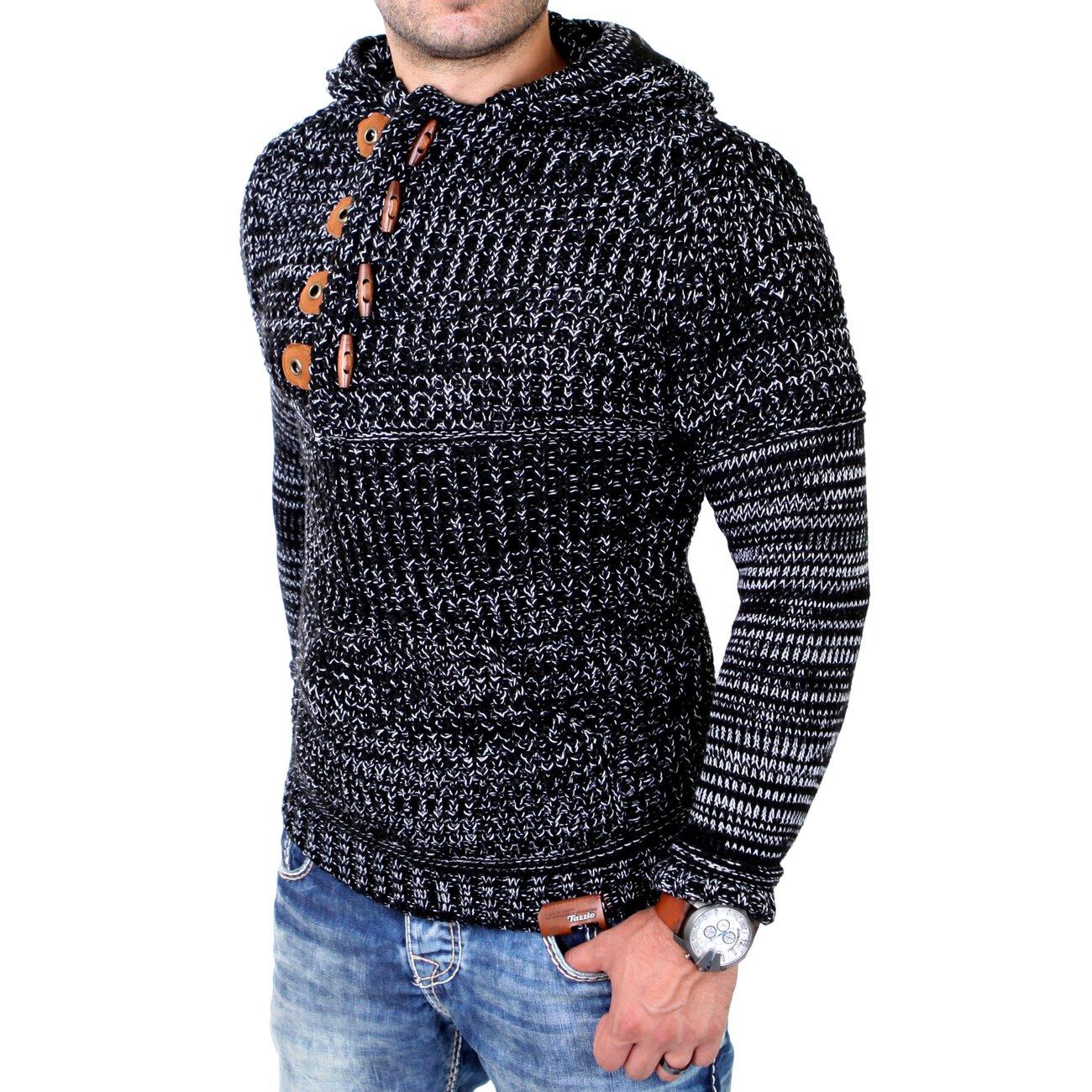 tazzio strickpullover melierter winter pullover mit kapuze. Black Bedroom Furniture Sets. Home Design Ideas