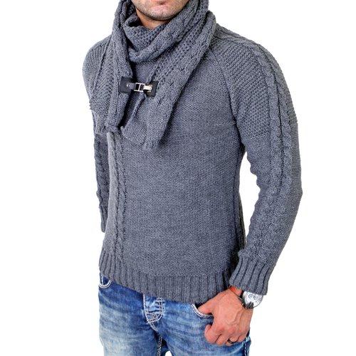 tolle Auswahl gute Qualität gute Textur Tazzio Strickpullover Herren Rundhals Grobstrick Pullover mit Schal TZ-443