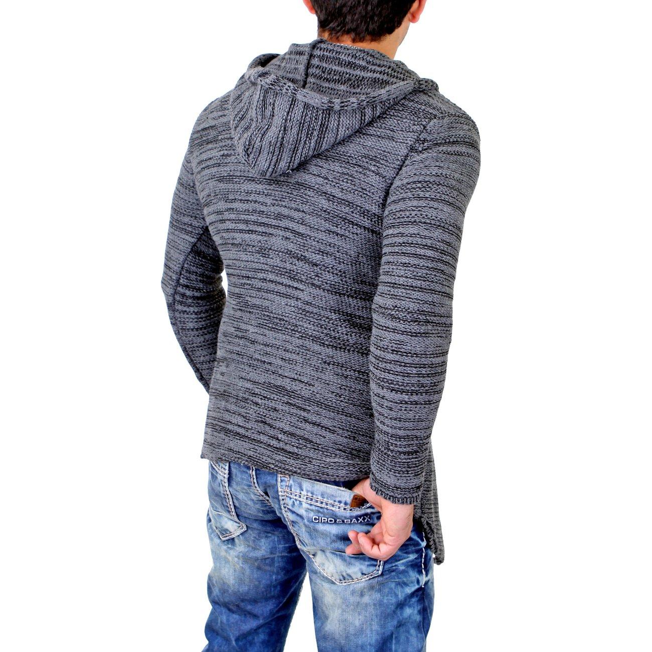 tazzio strickjacke herren lange jacke mit kapuze g nstig. Black Bedroom Furniture Sets. Home Design Ideas
