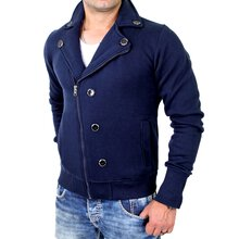 Madmext Sweatjacke Herren Asymetric Zipper Biker Sweat...