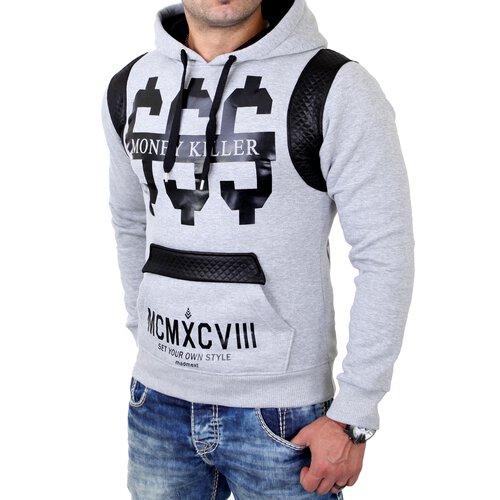 Madmext Sweatshirt Herren Kapuzen Pullover Money Killer Print MDX-1196 Grau XL MDX-1196-0009