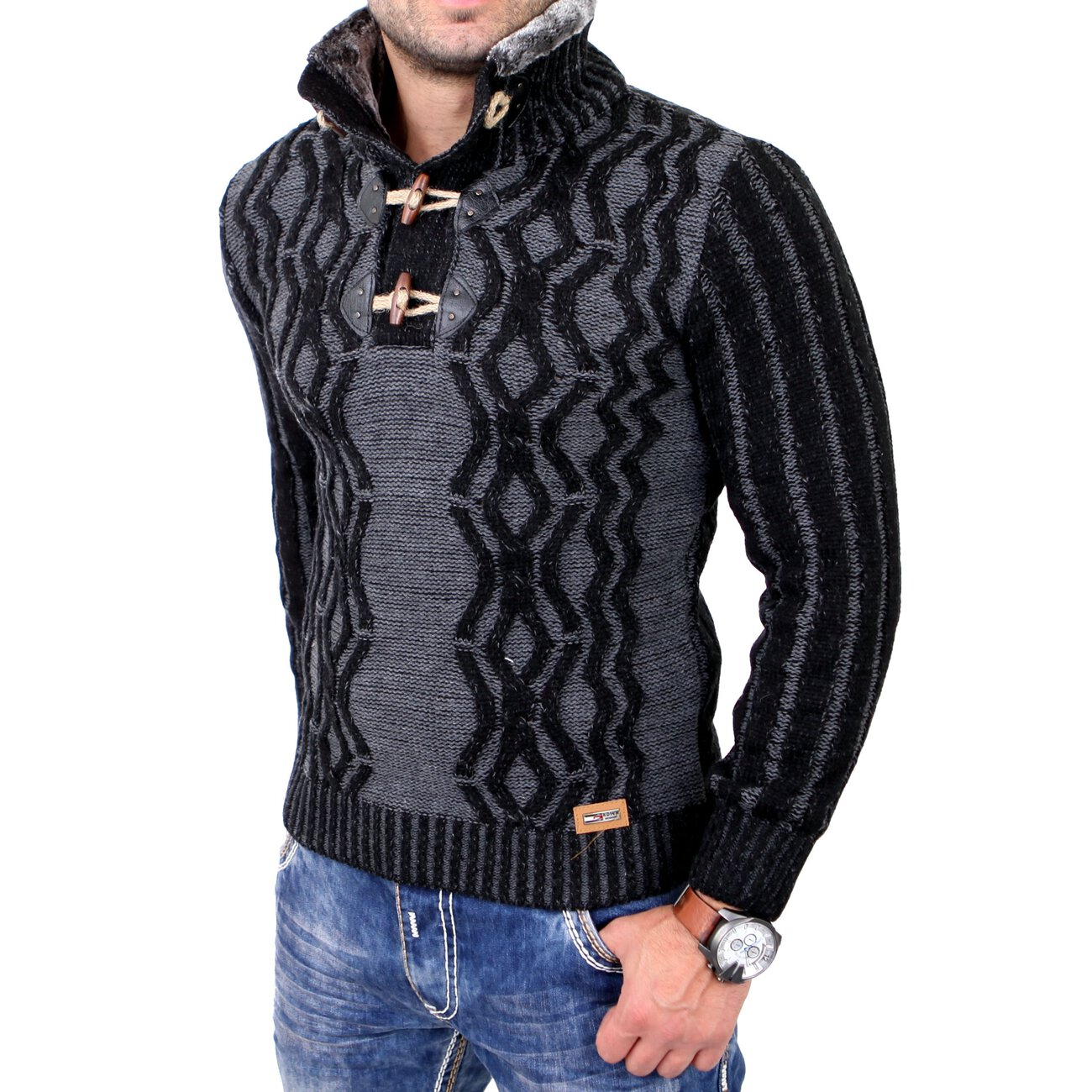 reslad strickpullover herren fellkragen winter pullover. Black Bedroom Furniture Sets. Home Design Ideas