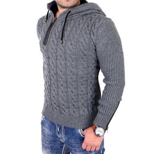 new style 81ec6 06039 Tazzio Strickpullover Herren Winter Grobstrick Kapuzen Pullover TZ-453