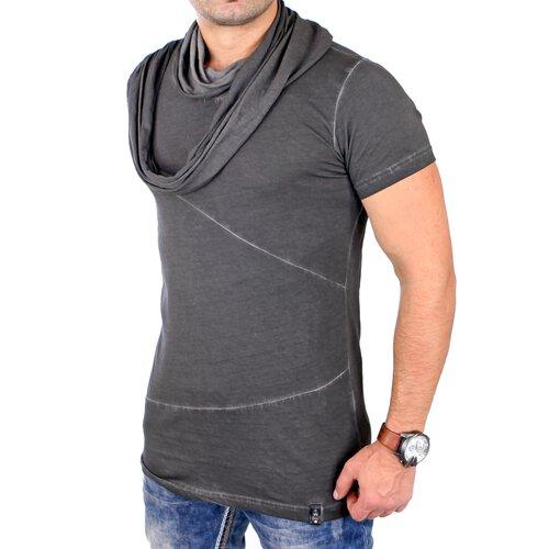 dd01f8f7d46a Tazzio T-Shirt Herren Oversized Long Style Schalkragen Shirt TZ-15144  Anthrazit M ...