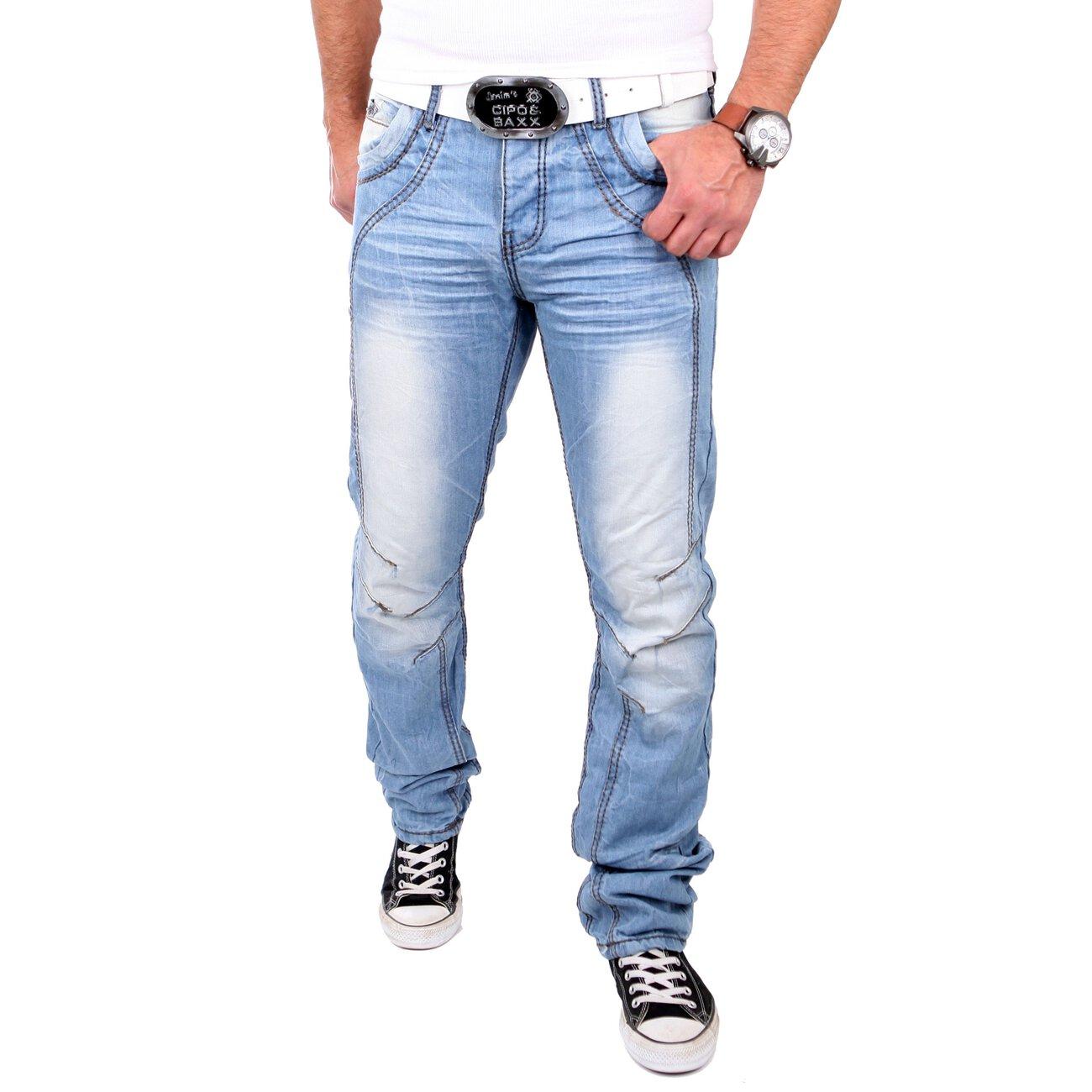 reslad herren jeans straight cut dicke naht look hose. Black Bedroom Furniture Sets. Home Design Ideas