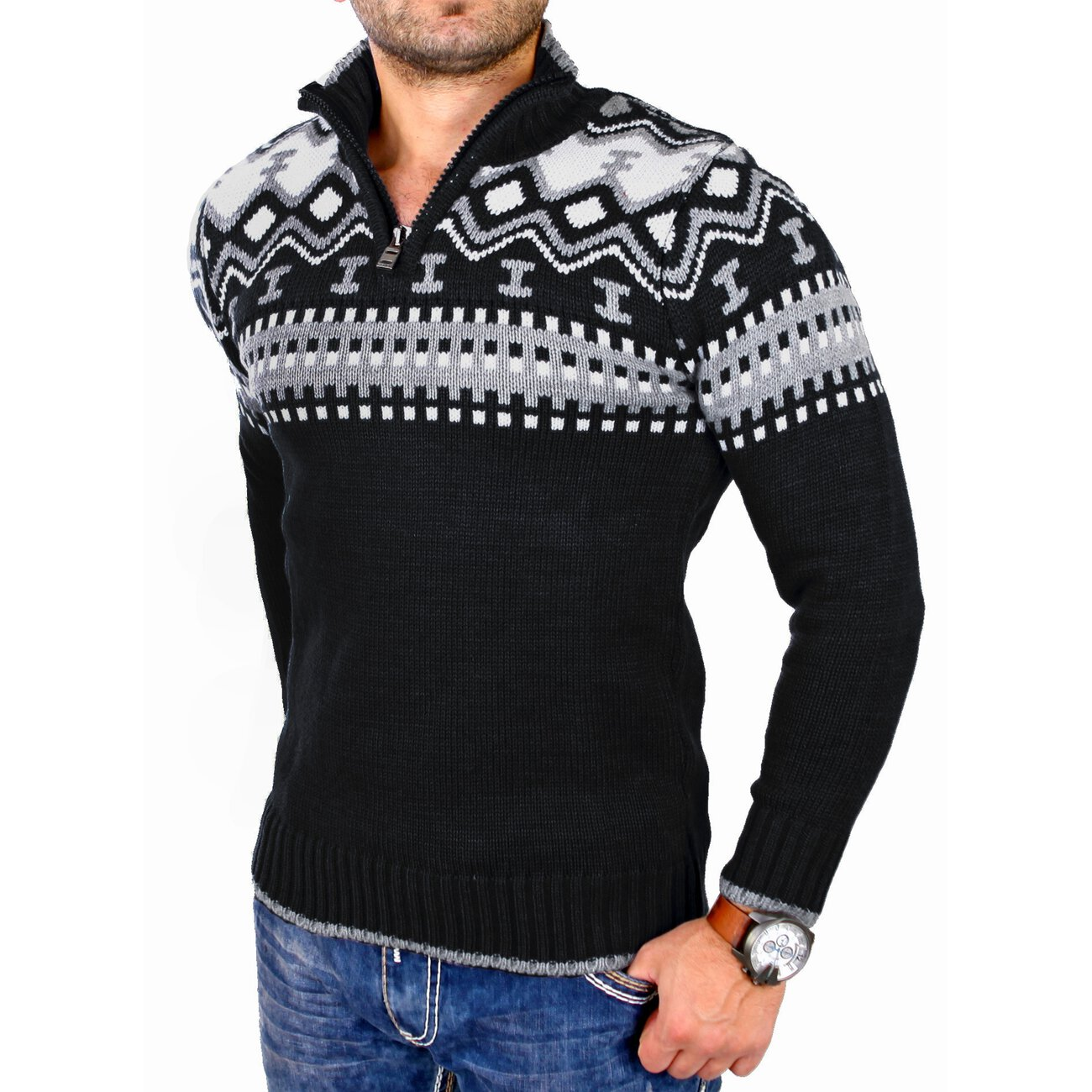 reslad norweger pullover f r herren mit zipper g nstig. Black Bedroom Furniture Sets. Home Design Ideas