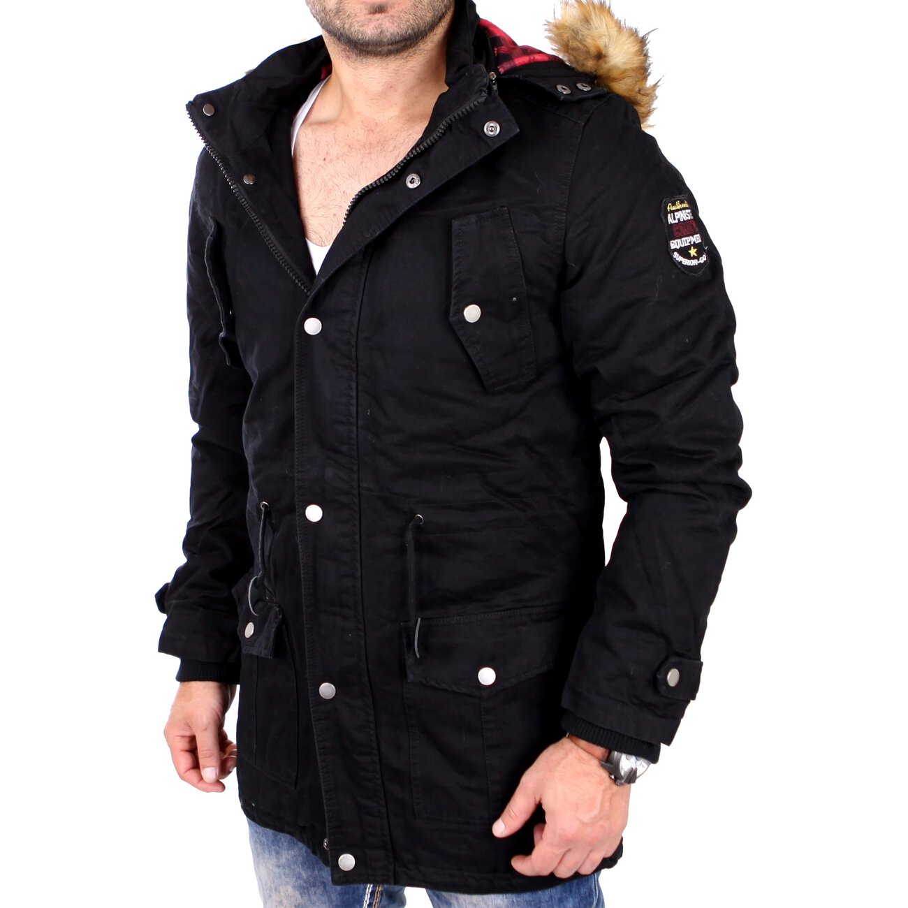 reslad winterjacke herren parka jacke mit kapuze und fell rs 505 schw. Black Bedroom Furniture Sets. Home Design Ideas
