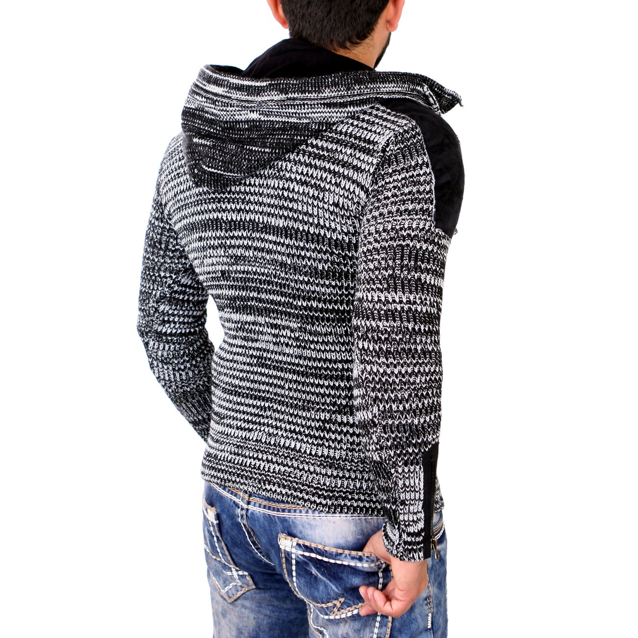 tazzio strickpullover herren winter grobstrick kapuzen pullover tz 45. Black Bedroom Furniture Sets. Home Design Ideas