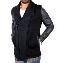 Young & Rich Sweatjacke Herren Sweater mit Kunstleder-...