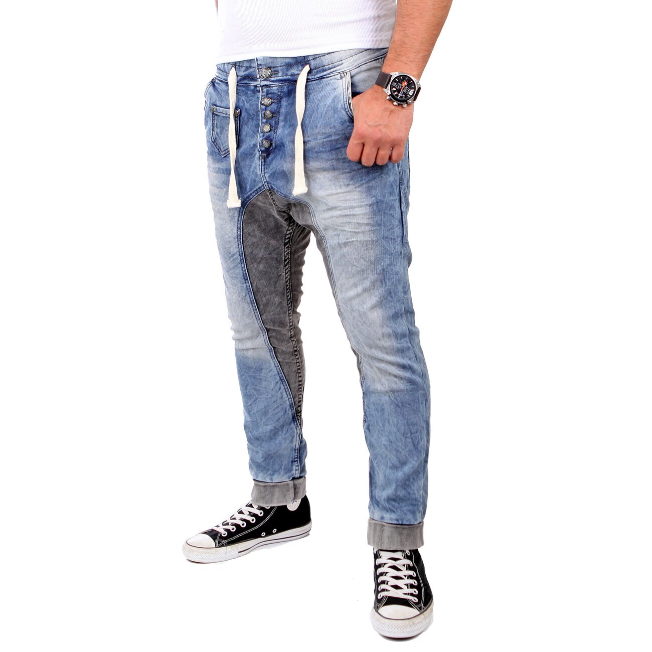 rerock jogg jeans herren bicolor low crotch jogginghose. Black Bedroom Furniture Sets. Home Design Ideas