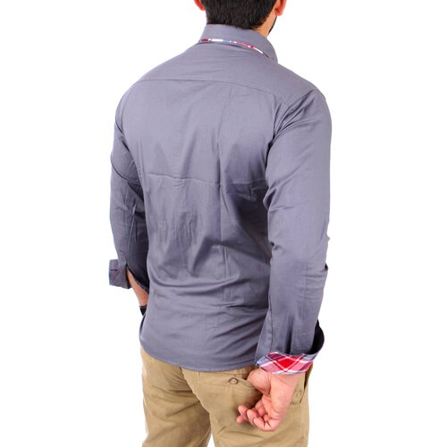 Reslad Herren Hemd Button-Down Slim Fit Kontrast Langarmhemd RS-7015