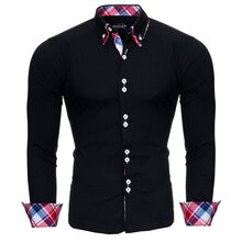 Reslad Herren Hemd Button-Down Slim Fit Kontrast...