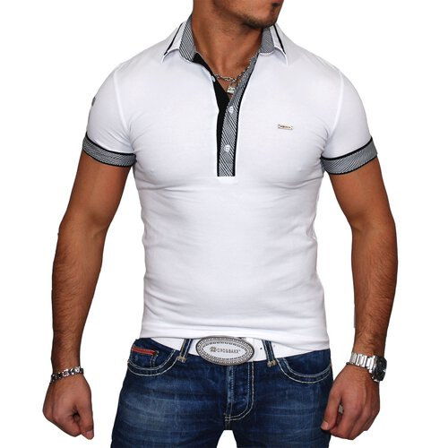 Kickdown Poloshirt Herren Slim Fit Club Wear Kontrast T-Shirt K-1924