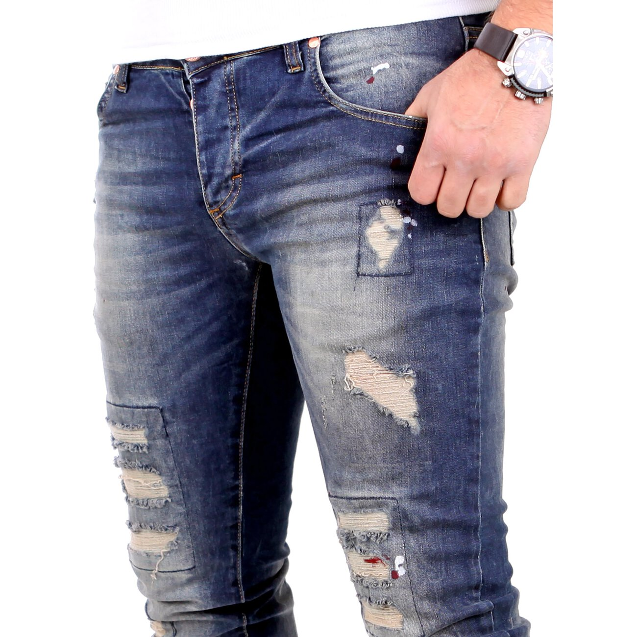 antifit jeans herren alec slim fit vsct destroyed denim. Black Bedroom Furniture Sets. Home Design Ideas
