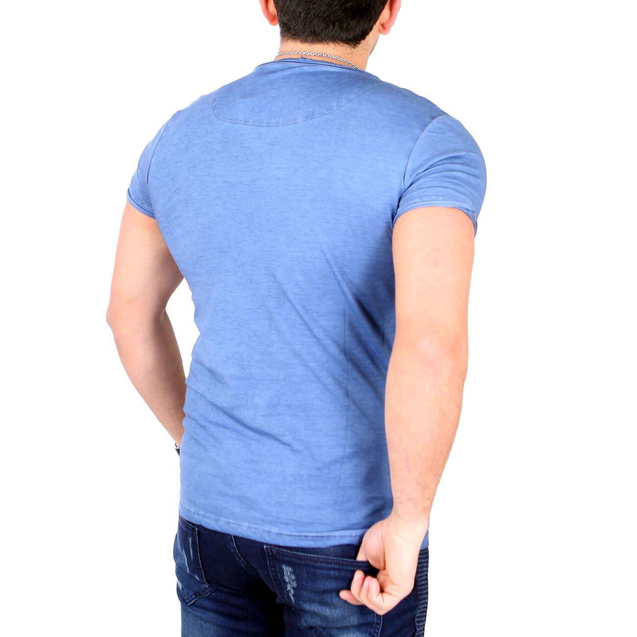 Tazzio T Shirt Herren Buttoned Flockprint Rundhals Shirt