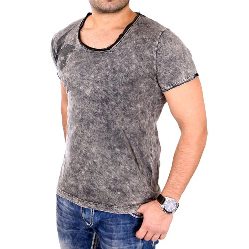 Tazzio T-Shirt Herren Washed Out Vintage Style Kurzarm Print Shirt TZ-16157