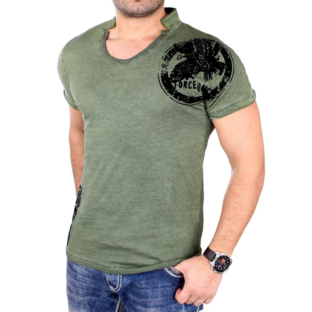 Tazzio T Shirt Herren Vintage Style Flockprint Kurzarmshirt