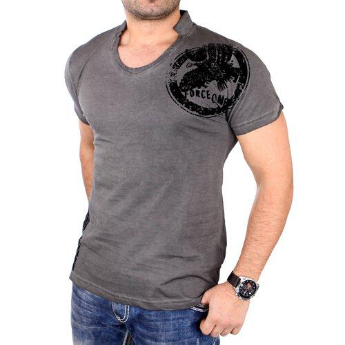 9d26a4c46244d Tazzio T-Shirt Herren Vintage Style Flockprint Kurzarm Shirt TZ-16159