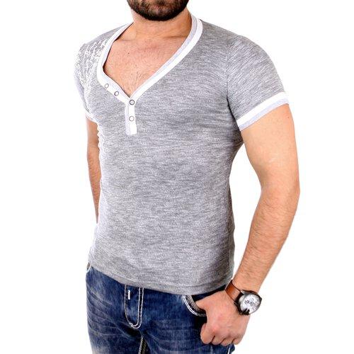 0aeab0e24d417 Tazzio T-Shirt Herren Tiefer V-Neck Flock Print Kurzarm Shirt TZ-16170