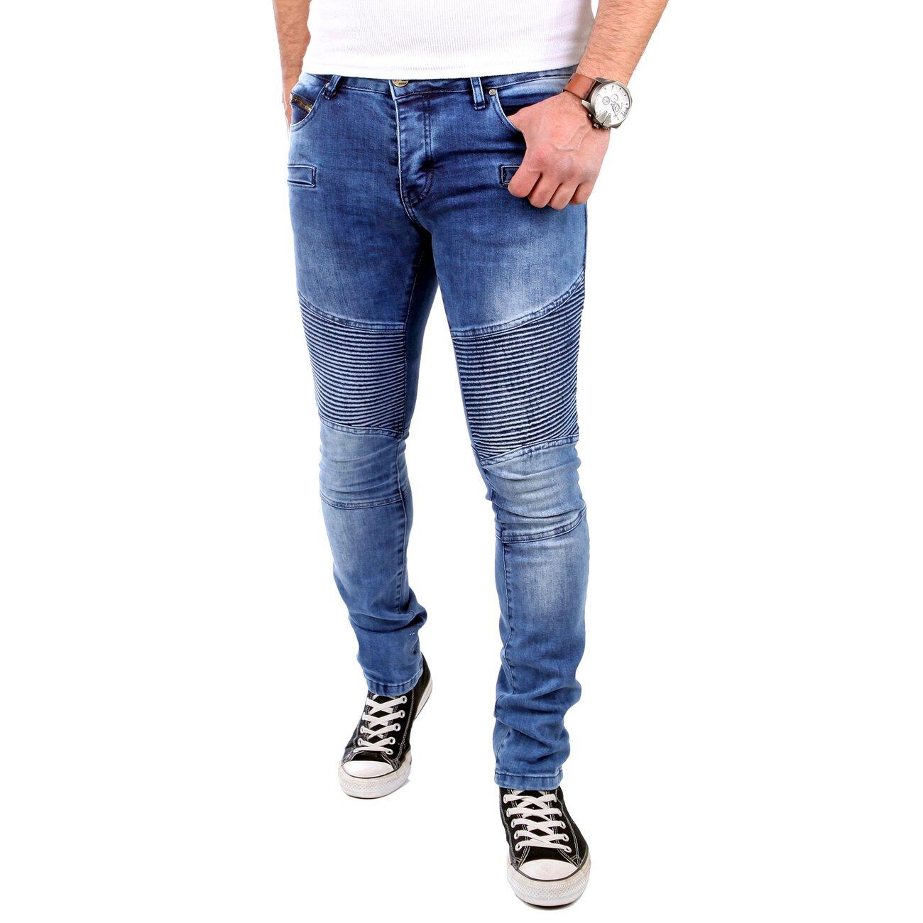 tazzio jogg jeans slim fit biker jogging jeans blau. Black Bedroom Furniture Sets. Home Design Ideas