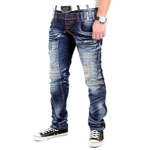 Reslad Jeans Herren Patch Art Vintage Washed Jeanshose RS-7028 Blau