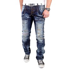 Reslad Jeans Herren Patch Art Vintage Washed Jeanshose...
