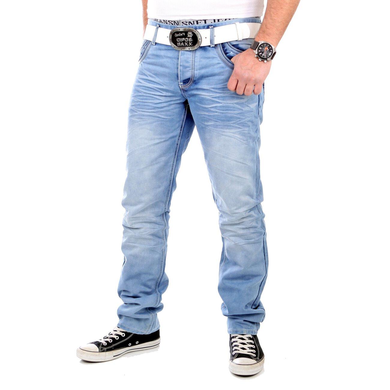 reslad jeans herren straight fit used look jeanshose hellblau. Black Bedroom Furniture Sets. Home Design Ideas