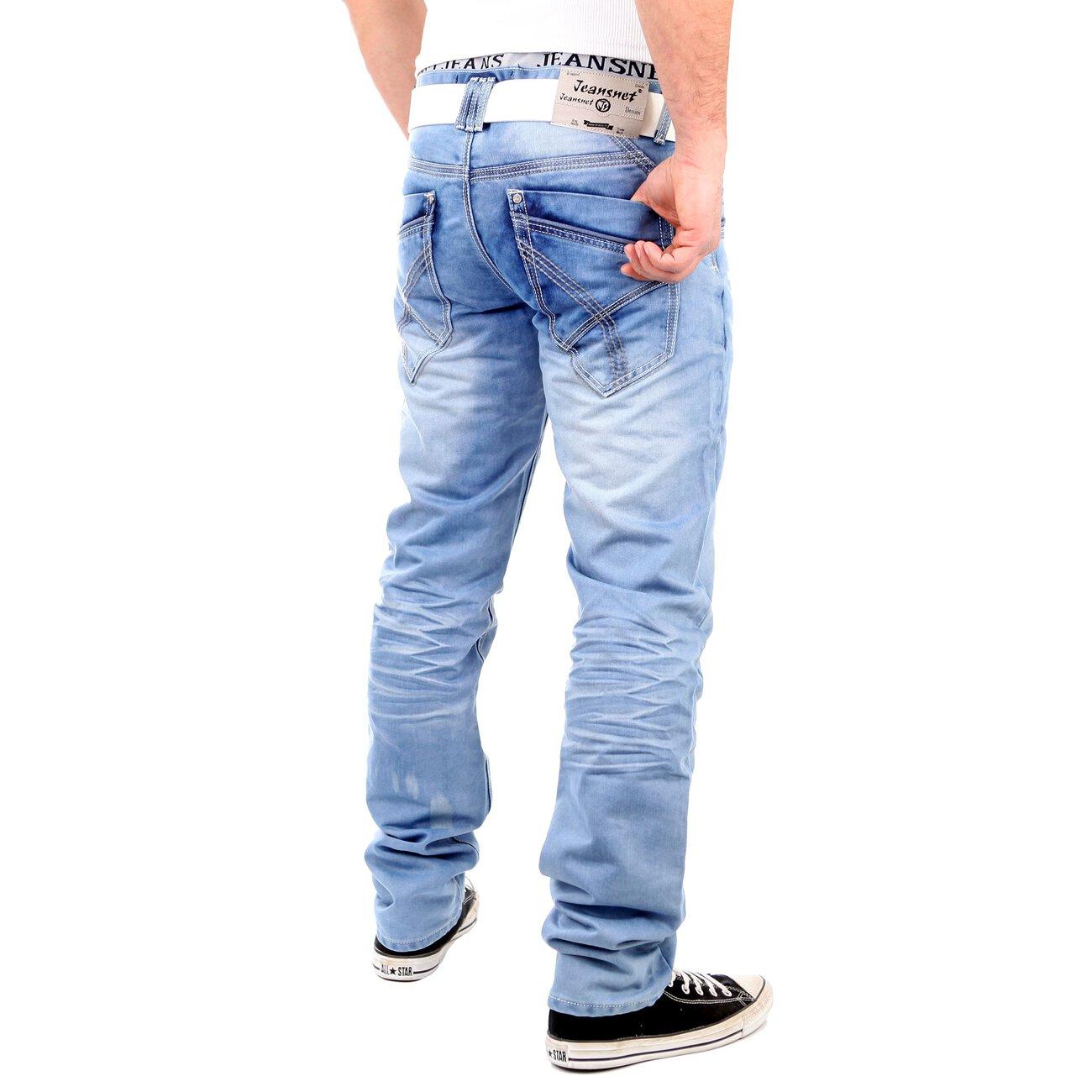 reslad jeans herren straight fit used look jeanshose rs 8312 hellblau. Black Bedroom Furniture Sets. Home Design Ideas