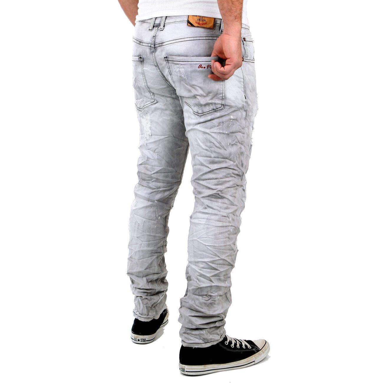 reslad jeans herren vintage destroyed slim fit hose grau. Black Bedroom Furniture Sets. Home Design Ideas