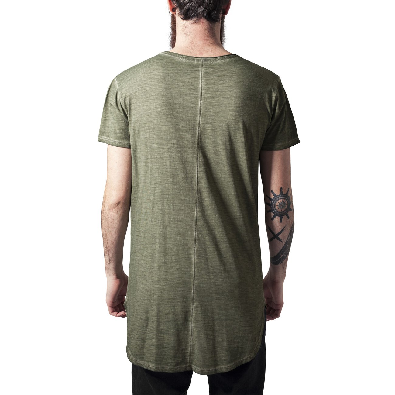 urban classics t shirt long back shaped spray dye tb 1231. Black Bedroom Furniture Sets. Home Design Ideas