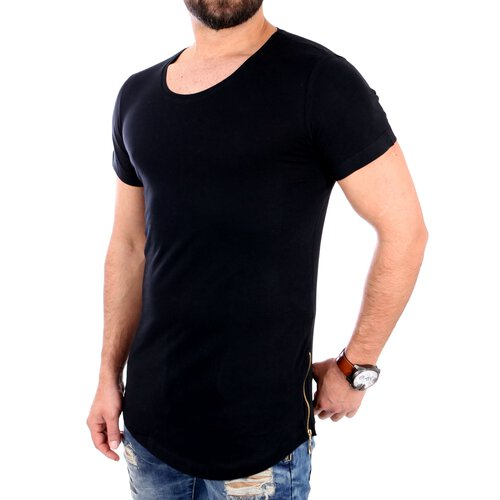 Redbridge T-Shirt Herren Basic Zipped Long Style Kurzarm Shirt RB-41289