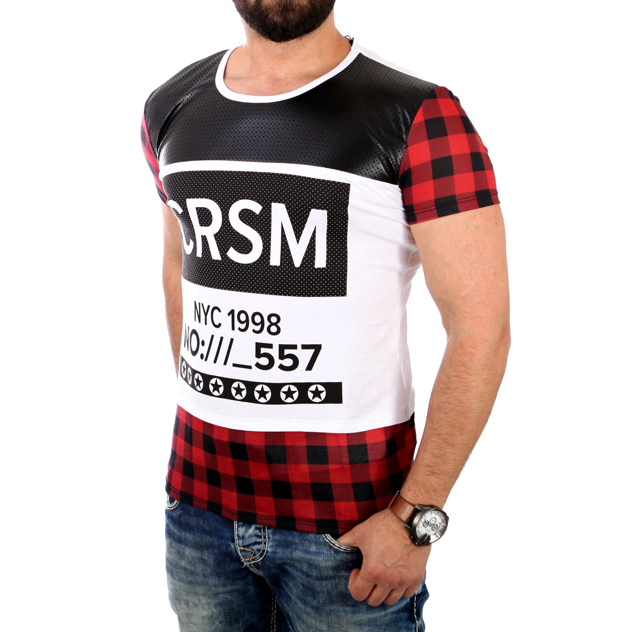 Carisma t shirt herren material mix flanell look shirt for T shirt printing local area