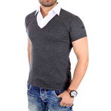 ReRock T-Shirt Herren 2in1 V-Neck Double Layer Kurzarm...