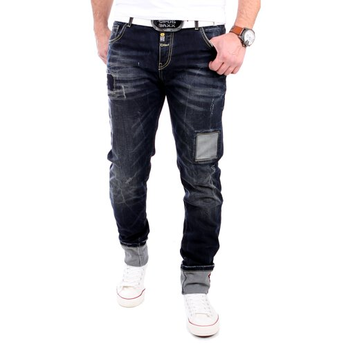 Cipo & Baxx Herren Jeans Patched Regular Fit Jeanshose CD-201 Dunkelblau