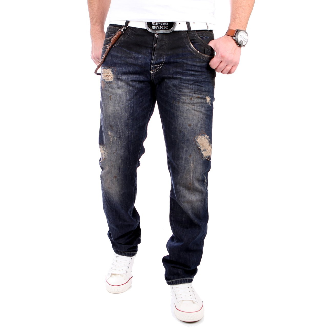 cipo baxx herren jeans regular fit vintage cd 151 dunkelblau. Black Bedroom Furniture Sets. Home Design Ideas